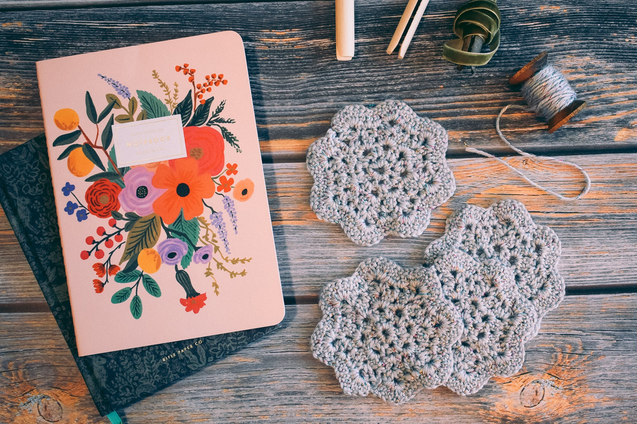 Critter Crafting - Silver Crochet Coasters & Cottagecore Home Accents - Rifle Paper Co. Notebooks and Ribbon