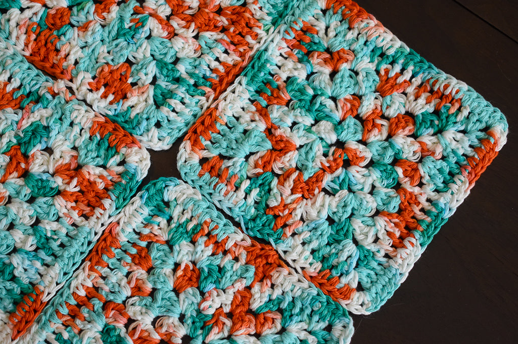 Granny square crochet coasters by Critter Crafting