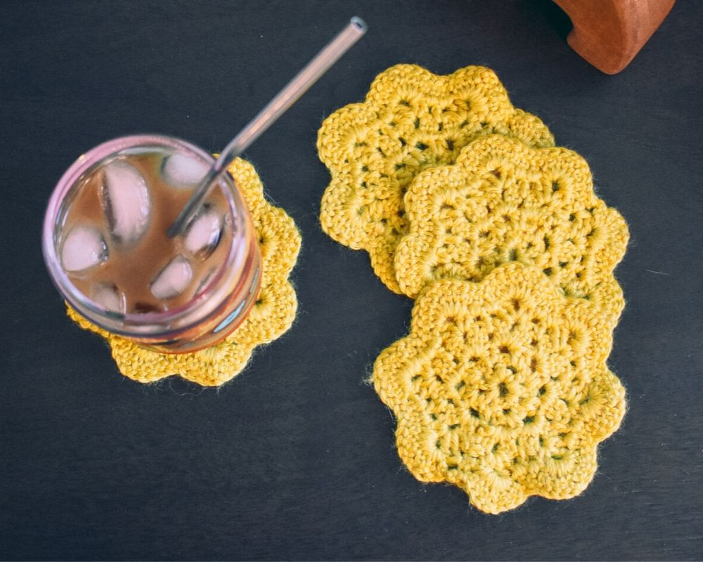 Goldenrod 4.5 Inch Floral Inspired Crochet Coasters Set (Set of 4)