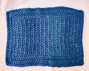 Solid Blue Rectangular Homespun Cat Mat