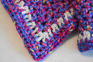 Blue & Pink Confetti Crochet Cat Mat