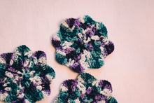 Load image into Gallery viewer, Teal and Plum 5 Inch Floral Inspired Crochet Coasters Set (Set of 4)