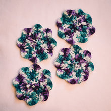 Load image into Gallery viewer, Teal & Plum Floral Inspired Crochet Coasters Set (Set of 4)