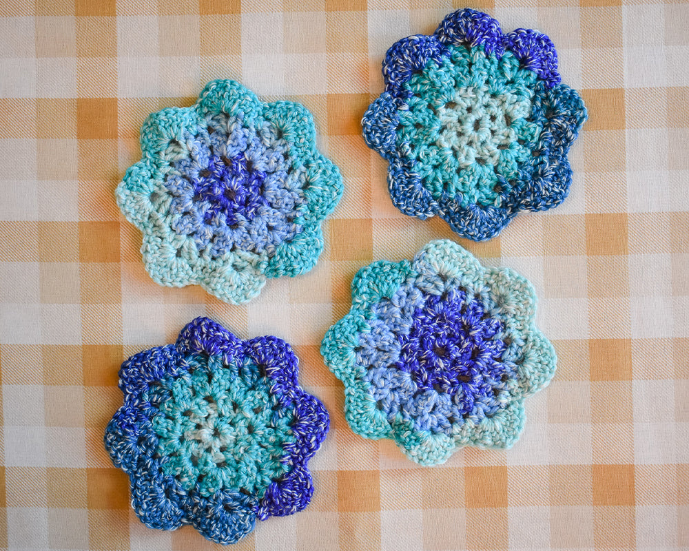 Ocean Blue & Teal Floral-Inspired Colorful Coasters (Set of 4)