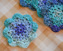Load image into Gallery viewer, Ocean Blue & Teal Floral-Inspired Colorful Coasters (Set of 4)