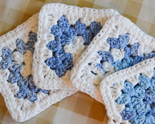 Load image into Gallery viewer, Blue & White Granny Square Colorful Coasters (Set of 4)