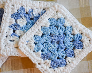Blue & White Granny Square Colorful Coasters (Set of 4)