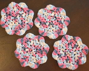 Blue & Pink Floral-Inspired Colorful Coasters (Set of 4)