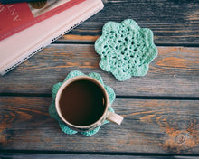 Load image into Gallery viewer, Light Turquoise 5 Inch Floral Inspired Crochet Coasters Set (Set of 2)
