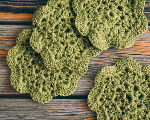 Pistachio 4.5 Inch Floral Inspired Crochet Coasters Set (Set of 4)
