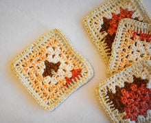 Load image into Gallery viewer, Coral and Tan Crochet Coasters (Set of 4)