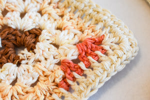 Coral and Tan Crochet Coasters (Set of 4)