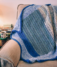 Load image into Gallery viewer, Calming Blues Homespun Crochet Throw Blanket