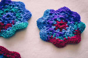 Cosmos Multicolor 4.5 Inch Floral Inspired Crochet Coasters Set (Set of 4)