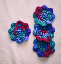 Load image into Gallery viewer, Cosmos Multicolor 4.5 Inch Floral Inspired Crochet Coasters Set (Set of 4)