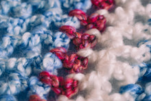 Load image into Gallery viewer, Homespun Blue and Fuzzy White Baby Blanket