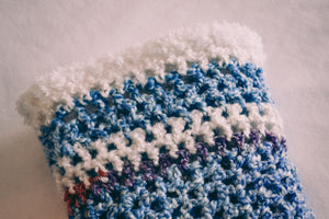 Homespun Blue and Fuzzy White Baby Blanket