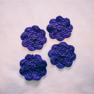 Rich Purple 4.5 Inch Floral Inspired Crochet Coasters Set (Set of 4)