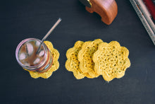 Load image into Gallery viewer, Goldenrod 4.5 Inch Floral Inspired Crochet Coasters Set (Set of 4)