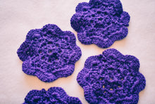 Load image into Gallery viewer, Rich Purple 4.5 Inch Floral Inspired Crochet Coasters Set (Set of 4)