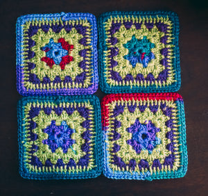 Vibrant Multicolor Crochet Coasters Set (Set of 4)