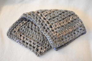 Gray Crochet Cat Mat with Muted Pinks and Blues