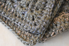 Load image into Gallery viewer, Gray Crochet Cat Mat with Muted Pinks and Blues
