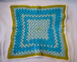 Large Sky Blue & Soft Chartreuse Cat Mat