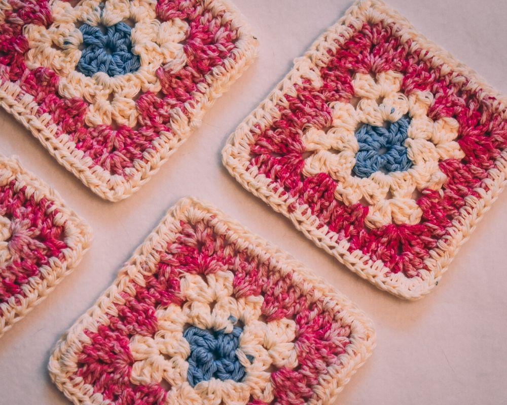 Pink & White Granny Square Crochet Coasters Set (Set of 4)