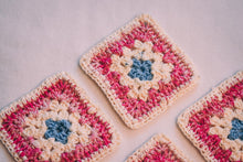Load image into Gallery viewer, Pink & White Granny Square Crochet Coasters Set (Set of 4)