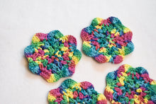 Load image into Gallery viewer, Rainbow Floral Inspired Crochet Coasters Set (Set of 4)