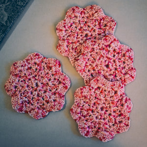 Rosy Pink Floral-Inspired Coasters (Set of 4)