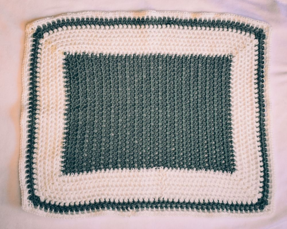 Sage and Soft White Baby Blanket