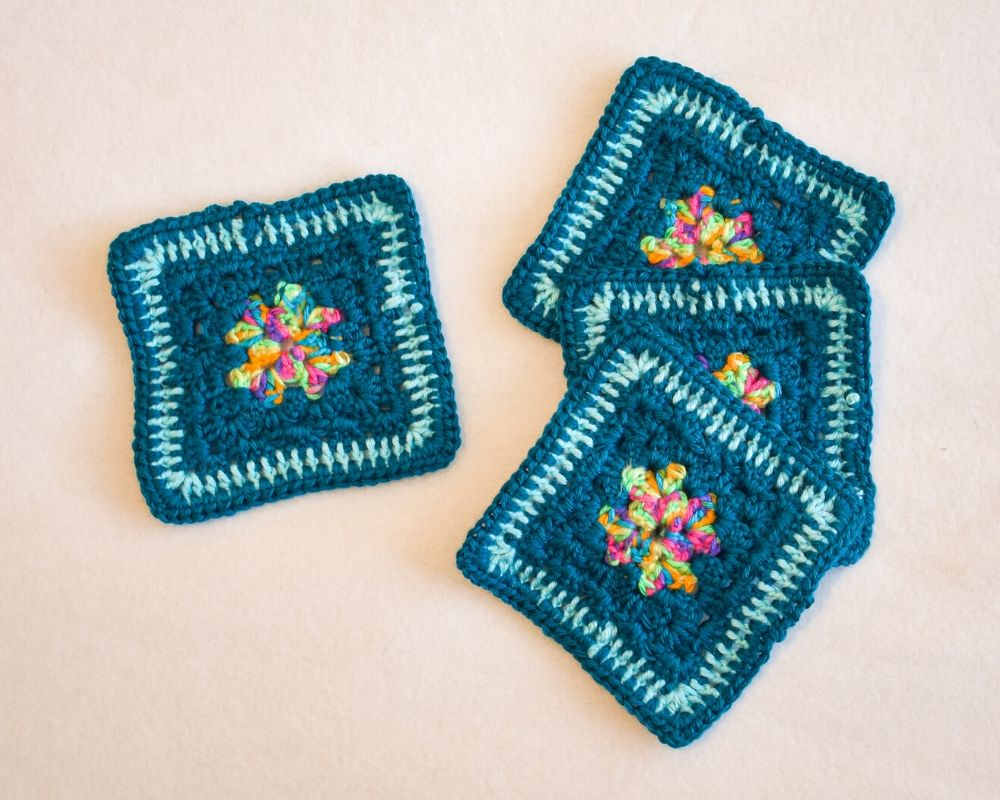 Teal & Rainbow Square Crochet Coasters (Set of 4)