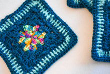 Load image into Gallery viewer, Teal & Rainbow Square Crochet Coasters (Set of 4)