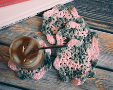 Load image into Gallery viewer, Pink & Mossy Green Floral Inspired Crochet Coasters Set (Set of 4)