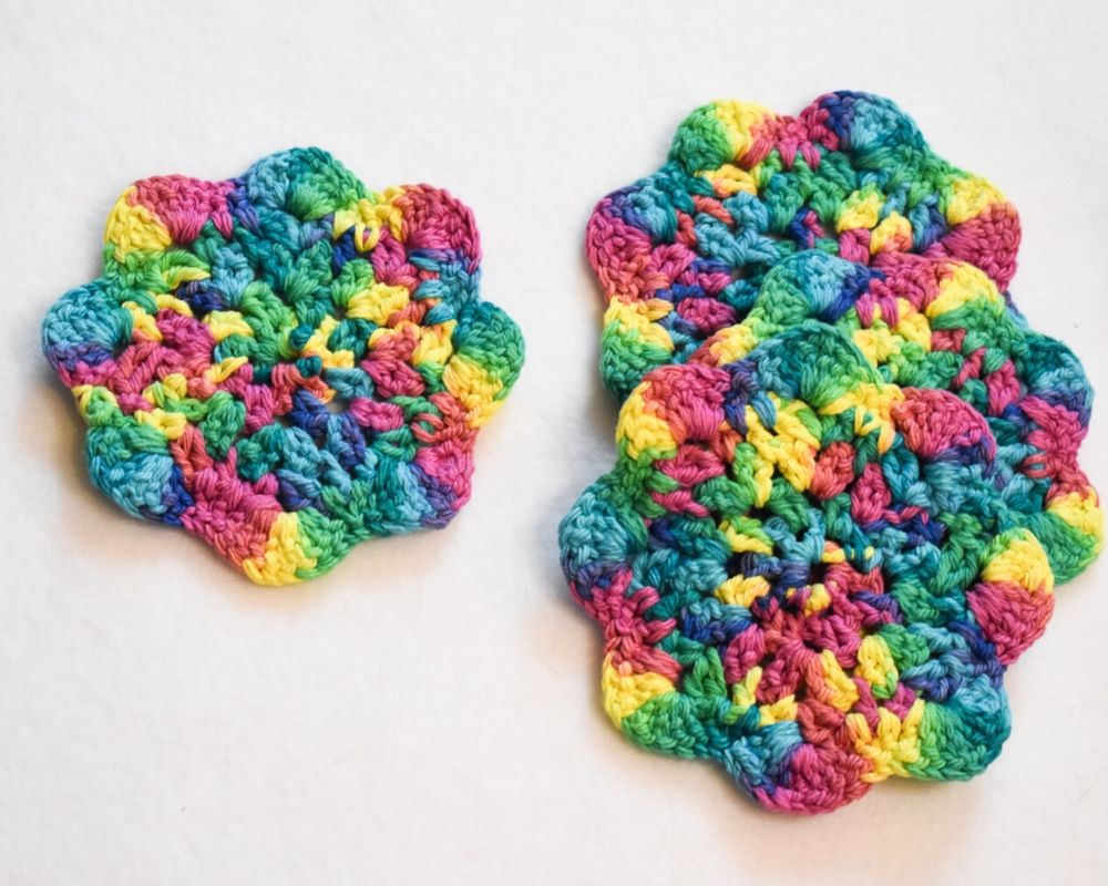 Rainbow Floral Inspired Crochet Coasters Set (Set of 4)