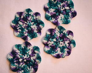 Teal and Plum 5 Inch Floral Inspired Crochet Coasters Set (Set of 4)