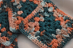 Coral and Teal Four Piece Granny Square Crochet Coasters Set (Set of 4)