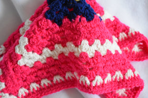 Bright Pink and Navy Crochet Cat Mat