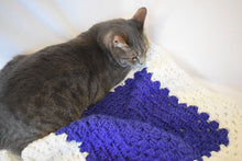 Load image into Gallery viewer, Vibrant Sapphire Blue & Soft White Cat Mat