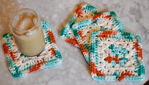 Teal, Coral, & Cream Granny Square Crochet Coasters Set (Set of 4)