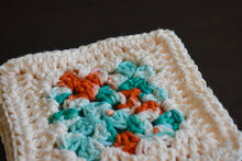 Load image into Gallery viewer, Cream, Teal, & Coral Granny Square Crochet Coasters Set (Set of 4)