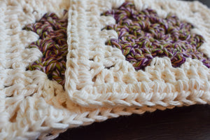 Rich Purple and Cream Four Piece Granny Square Crochet Coasters Set (Set of 4)