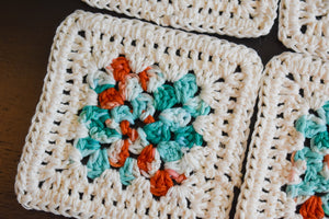 Cream, Teal, & Coral Granny Square Crochet Coasters Set (Set of 4)