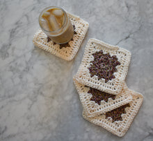 Load image into Gallery viewer, Rich Purple and Cream Four Piece Granny Square Crochet Coasters Set (Set of 4)