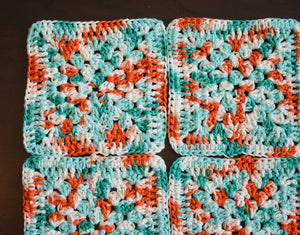 Large Teal and Coral Granny Square Crochet Coasters Set (Set of 4)