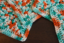 Load image into Gallery viewer, Large Teal and Coral Granny Square Crochet Coasters Set (Set of 4)