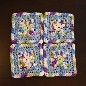 Periwinkle & Purple Granny Square Crochet Coasters Set (Set of 4)