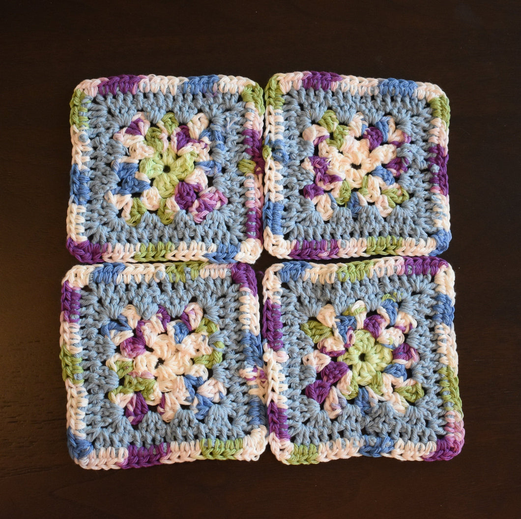 Periwinkle and Purple Four Piece Granny Square Crochet Coasters Set (Set of 4)